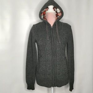 H&M full zip cable cardigan. Lined hood, warm.